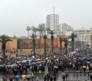 Miles de manifestantes salieron a las calles en Rabat, la capital de Marruecos