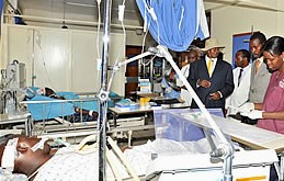 Ugandan President visited terror attack injured