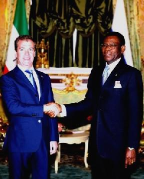 El presidente ruso, Dimitri Medvedev y de Guinea Ecuatorial, Teodoro Obiang