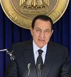 Egypt's President Hosni Mubarak speaking on national TV