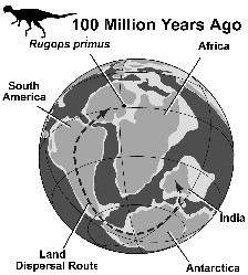 Afrol news dinosaurs prove africa is younger than assumed of the discovery of rugops primus in niger and the position of the ancient southern continents and their interconnections some 100 million years ago sciox Image collections